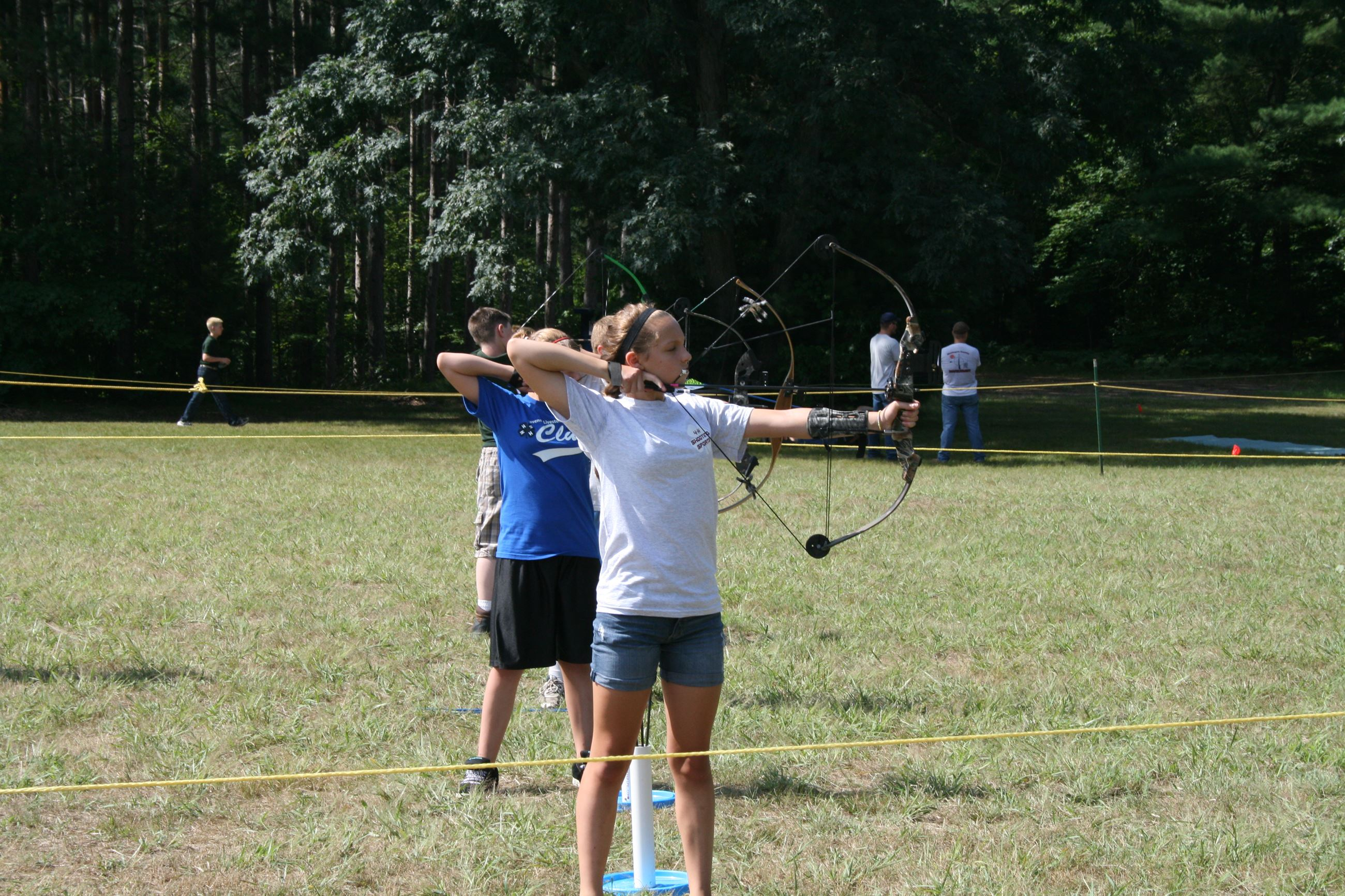Youth participating in archery competition